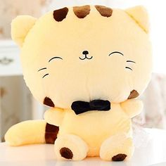 """18"""" 45CM Include Tail Cute Plush Stuffed Toys Cushion Fortune Cat Doll High 13'' Yellow Color Eternity888"""