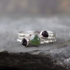 Raw Gemstone Stacking Rings  Rough Green Garnet and by ASecondTime