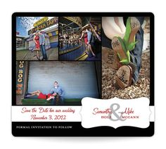 Enchanted Encounter Save the Date Magnet - Samantha & Mike personalized with their Boardwalk e-sesh photos, red, black & white!