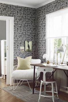 Poetry wallpaper from BorasTapeter Poetry Wallpaper, New Wallpaper, Scandinavian Wallpaper, Osborne And Little, Cole And Son, Modern Country, Couch, Designer Wallpaper, Feng Shui