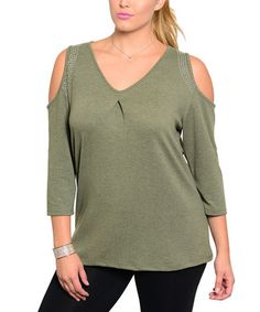 Loving this Olive Cutout V-Neck Top - Plus on #zulily! #zulilyfinds