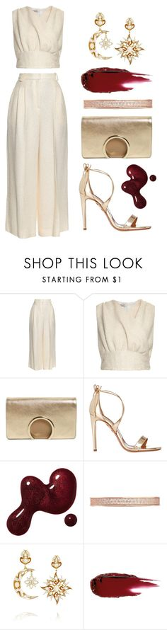 """Ivory & Gold"" by dominosfalldown ❤ liked on Polyvore featuring Emilia Wickstead, Chloé, Aquazzura, Eddie Borgo, Diego Percossi Papi, gold, ivory, goldsandals and winterwhite"