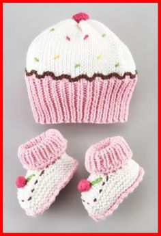 Cupcake+Hat+and+Bootie+Set+by+Art+Walk+at+Neiman+Marcus. Cupcake+Hat+and+Bootie+Set+by+Art+Walk+at+Neiman+Marcus.My future baby girl will think she is a cupcake! Art Walk Cupcake Hat and Bootie SetCupcake hat (forget the bootees!Such cute and fun hat and Baby Knitting Patterns, Baby Hats Knitting, Crochet Baby Hats, Knit Or Crochet, Loom Knitting, Crochet Patterns, Dress Patterns, Crochet Cupcake Hat, Knitted Hats Kids