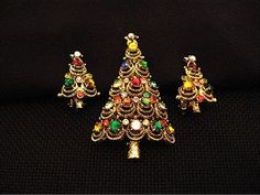 Christmas Tree Pin and Earrings Signed Pakula by timmaryjewelry, $25.00