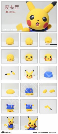 Most up-to-date Screen Clay diy pokemon Concepts Untitled Cute Polymer Clay, Cute Clay, Polymer Clay Projects, Diy Clay, Bolo Pikachu, Pikachu Cake, Fondant Cake Toppers, Fondant Figures, Pokemon Torte