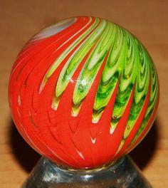 "TOMATO - SAMMY HOGUE'S HANDMADE GLASS MARBLE 1.48"" RED/GREEN/WHITE 2005"