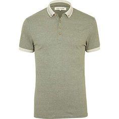 green jacquard polo shirt - polo shirts - t-shirts / vests - men - River Island