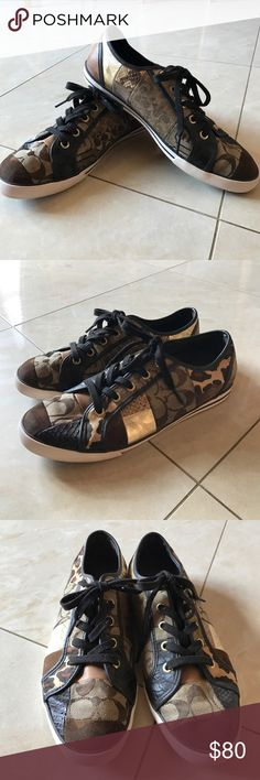 Coach sneakers These authentic Coach sneakers with patches and different designs. They are very gently worn and in perfect condition. They are so comfortable and absolutely adorable! they're a size 9 Coach Shoes Sneakers