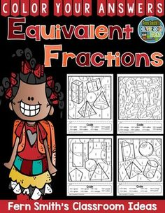 #Fractions Equivalent Fractions - Color Your Answers Printable for some Fractions Math Fun in your classroom! This math resource includes:FOUR printables, FOUR answer keys and photo sample for your classroom! Once the students finish the math, have them cut it out and glue down on a construction paper frame! #TPT #FernSmithsClassroomIdeas