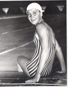 "Obit of the Day: ""The Timid Torpedo"" When Karen Muir finished swimming the backstroke at the ASA National Junior Championships her time was - a new world record. Swimming World, Water Polo, Swim Team, Sports Stars, Exercise For Kids, Interesting History, African History, South Africa, To My Daughter"
