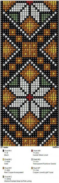 Bunad, Smykker, vev & rosemaling: Nytt sett med perlemønster i gyldne toner. Brick Stitch Patterns, Seed Bead Patterns, Peyote Patterns, Weaving Patterns, Bead Loom Bracelets, Beaded Bracelet Patterns, Jewelry Patterns, Pixel Crochet, Bead Crochet