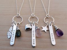 Items similar to Silver Feather Necklace 'Courage' & Labradorite - Sterling Silver on Etsy - A sterling silver necklace with a little group of charms includng a feather, silver tag hand stampe - Metal Stamped Bracelet, Hand Stamped Metal, Hand Stamped Jewelry, Jewellery Stamping, Metal Stamping Jewelry, Beaded Jewelry, Handmade Jewelry, Silver Jewelry, Silver Ring