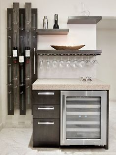 awesome Magnificent-Wet-Bar-decorating-ideas-for-Lovely-Kitchen-Contemporary-design-ideas-with-custom-floating-shelves-hanging-glasses-hanging-wine-glasses-home-bar-open-shelves - Inspiring Interiors Ideas