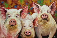Pigs+painting+4+24x36+inch+original+oil+painting+by+Roz+by+RozArt,+$385.00
