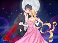 Princess Usagi and Mamoru as Tuxedo Mask from Sailor Moon Crystal