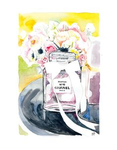 Chanel No9 on Table A4 gilcée print from by mbaileyillustrations, $16.00