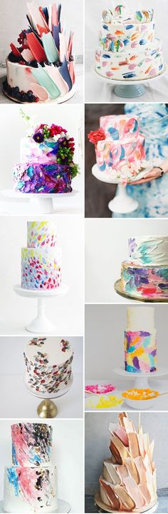 The Next Big Wedding Cake Trend: Brushstroke Cakes // http://www.onefabday.com