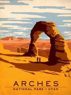 Art & Soul of America Vintage Travel Print - Arches National Park