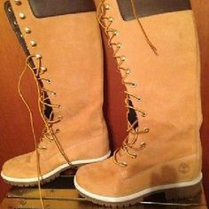 """TIMBERLAND 14"""" PREMIUM WHEAT LEATHER BOOTS 5.5 Leather/Suede Nubuck...Wheat butter timberland boots, knee high lace up, super cute!!! Great condition,  with minor wear. Timberland Shoes Winter & Rain Boots"""