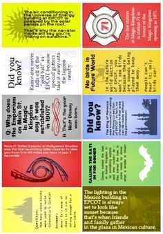 Disney trivia lunchbox notes (batch from WDW Prep School Disney Trivia, Disney Fun Facts, Disney Tips, Disney Magic, Disney Disney, Disney Stuff, Punk Disney, Princess Disney, Disney Bound