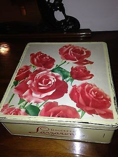 "Scatola Lazzaroni Latta ""Rose"" Vintage Originale"
