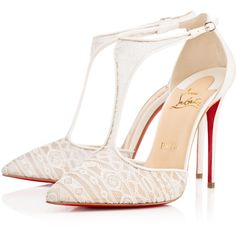 Christian Louboutin Salonu ($945) ❤ liked on Polyvore featuring shoes, pumps, heels, christian louboutin, louboutin, ivory, pointy toe high heel pumps, christian louboutin pumps, lace pumps and ivory lace pumps