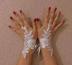 Black Bridal Glove,White lace gloves, Fingerless Glove,