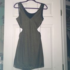 Golden dress Mini golden dress! Never worn and open back. bebe Dresses Mini