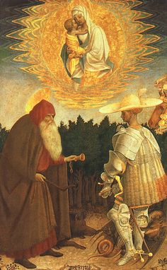The aparition of the virgin and child with Saints Anthony Abbot and George by Pisanello c.1435-41
