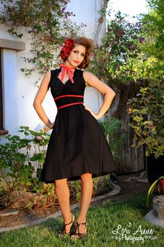 Maxine Dress in Black - In a stunning black with red piping exclusive to us, the Maxine is a new style from Heartbreaker with some seriously adorable detailing.  The sweetheart neckline is complimented by a feminine contrast necktie, contrast ties at the middle nip in your waist, the bust and skirt are gathered, and the full skirt features pockets!  A unique any occasion dress in comfy cotton.