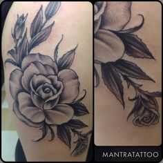 Rose tattoo in black and grey by Chance Isbell here at Mantra tattoo. Mantra Tattoo, Black And Grey, Tattoos, Rose, Flowers, Pink, Roses, Irezumi, Tattoo