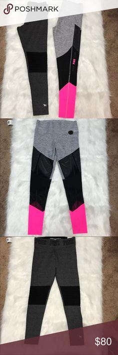 New Pink leggings, Bundle Of 2 pairs New pink leggings bundle of 2 pairs size medium 1 pair is high waist legging and the other pair is flat legging PINK Victoria's Secret Pants Leggings