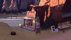 Mystery Shack/Gallery - Gravity Falls Wiki dusk, house, trees, sign, porch Gravity Falls Town, Gravity Falls Wiki, Scenery Background, Fall Background, Dipper And Mabel, Best Cartoons Ever, Disney On Ice, Fall Cleaning, Reverse Falls