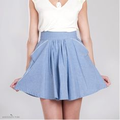 Blair Oxford blue skirt  Organic cotton and by SimonesRoseBoutique, $96.00 ...not that I have the legs for it, mind you!