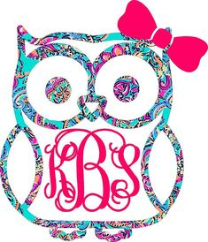 Lilly Pulitzer Monogram Owl Decal by SouthernIdeology on Etsy Cricut Monogram, Monogram Decal, Cricut Vinyl, Car Monogram, Free Monogram, Monogram Wreath, Monogram Frame, Silhouette Cameo Projects, Silhouette Design