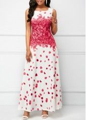 Printed Round Neck Sleeveless Maxi Dress