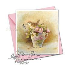 Moineau perché sur une tasse en porcelaine Viennoise au motif de lilas Print + envelope 15 x 15 cms 5.9 x 5.9 in