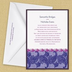 Modern Wedding Invitation - Paisley, $2.01 (http://event.thingsfestive.com/modern-wedding-invitation-paisley/) #wedding #weddinginvitations #modernweddinginvitations #paisleyweddinginvitations