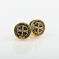 My Saint My Hero Goldtone Benedictine Blessing Stud Earrings by @mysaintmyhero  also available in Silver!!!  #mysaintmyhero #blessing #earring #accessorize #love #shoplocal #tickledpink