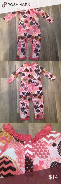 Baby Nay Playsuit Sweet, patchwork hearts 💕 on playsuit by Baby Nay. Super soft in Rayon/Cotton (70/30) with 9 snaps around bottom & 3 at back of neck. BNWT! 24 mos. Baby Nay One Pieces Bodysuits