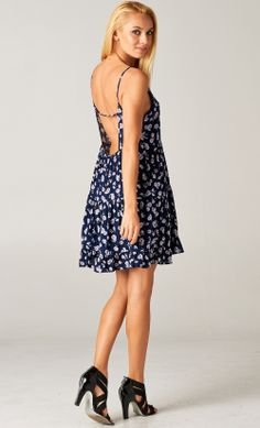 Floral Open-Back Babydoll Tiered Dress from Publik