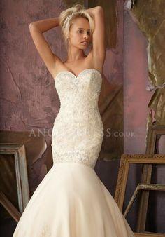 Sweetheart Sleeveless Mermaid With Beading Floor Length Satin Wedding Dress