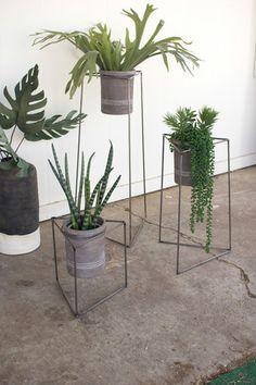 Industrial / Mid Century Modern Triangle Planter Stands With Gray Clay Pots These stylish wire stands will add a rustic industrial modern style to your space! Rustic raw metal Set of Dimensions: Large x x Medium x x Small x x Includes Gray Wash Clay Pots Metal Plant Stand, Plant Stands, Tv Stands, Decoration Plante, Modern Planters, Fall Planters, Bedroom Plants, Pot Sets, Modern Industrial