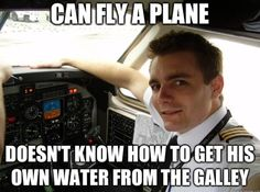Can fly a plane. Doesn't know how to get his own water from the galley #flightattendant #crewlife