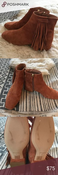 Free People Suede fringe booties Beautiful Cognac colored suede booties with fringe. 💯 authentic Free People brand.  Lined leather inside. Beautiful quality, made in Spain.  Block heel is about 1.5 inches. Size 36.  I'm between a 5.5-6 size and these are perfect.  I've never worn these, but there are a couple marks in soles(see pic), I don't know what that's from but these are in brand new condition! And retailed for $198.  It's a fabulous deal!! I have too many shoes! So I'm sharing my…