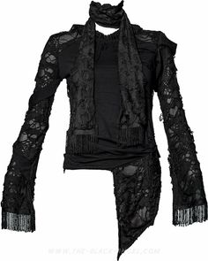 Gothic shirt with mesh and holes from the women's line of goth clothes by Queen of Darkness.
