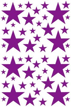 52 Dark Purple Vinyl Star Shaped Bedroom Wall by StuckOnYourWalls
