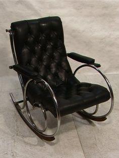 574: WOODARD Chrome Rocker Rocking Chair. Tufted Black : Lot 574