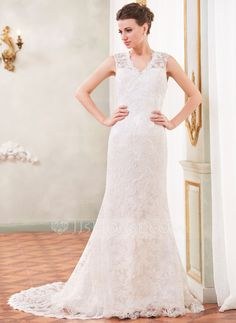 Trumpet/Mermaid V-neck Chapel Train Lace Wedding Dress With Beading Sequins (002055088) - JJsHouse