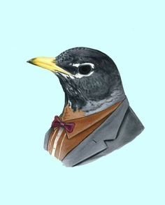 berkleyillustration on etsy has lots of fun prints like this robin in his Sunday best.  love it!